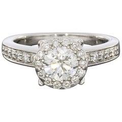 1.00 Carat Diamond Halo Platinum Engagement Ring