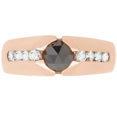 0.80 Carat Black Diamond and 0.48 Carat Diamond Men's Ring