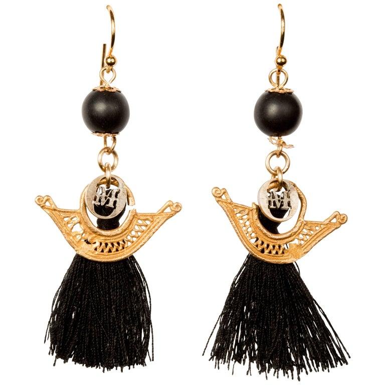 Gold and Tassel Earrings