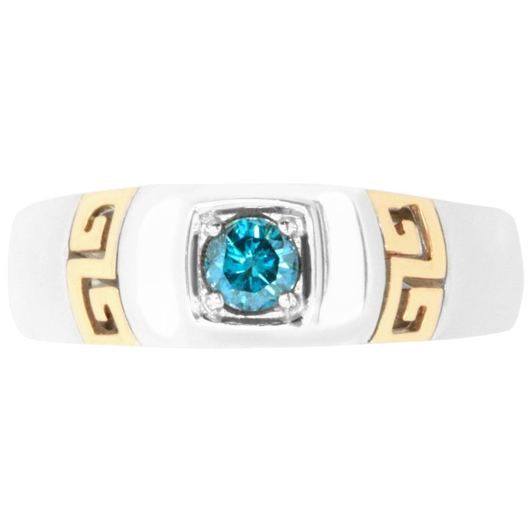 0.26 Carat Round Blue Diamond Men's Ring
