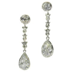 Fine Antique Georgian Pear Rose Cut Diamond 14 Karat Gold Dangle Earrings