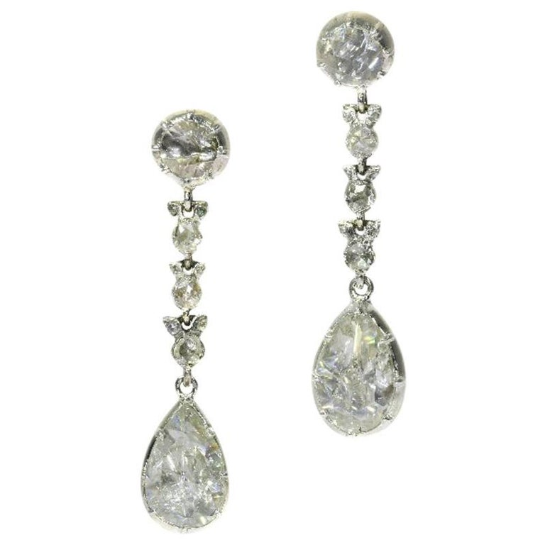 Fine Antique Georgian Pear Rose Cut Diamond 14 Karat Gold Dangle Earrings For Sale