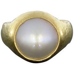Gurhan 24 Karat Yellow Gold Mable White Pearl Ring
