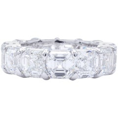 David Rosenberg 13 Carat GIA Asscher Platinum Diamond Eternity Wedding Band