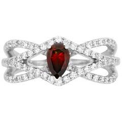 0.51 Carat Pear Red Diamond and 0.70 Carat Diamond Ring