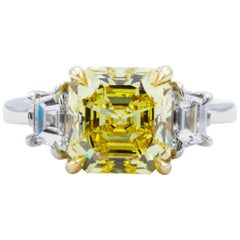 David Rosenberg 3.39 Carat Asscher Fancy Vivid GIA Three-Stone Diamond Ring