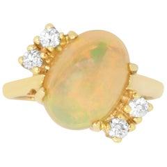 3.05 Carat Opal and 0.20 Carat Diamond Ring