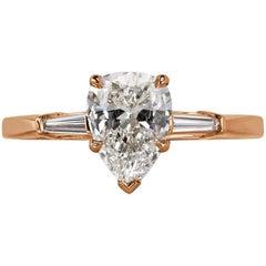Mark Broumand 1.18 Carat Pear Shaped Diamond Three-Stone Engagement Ring