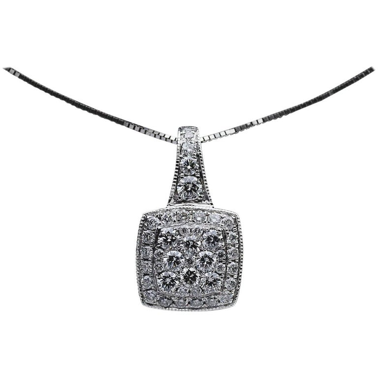 1.00 Carat Round Diamond White Gold Pendant Necklace