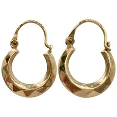 Small Gold Hoops 1980s Vintage Jewelry Faceted Dainty Hoop Earrings