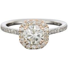 1.26 Carat Round Diamond Cushion Halo Engagement Ring