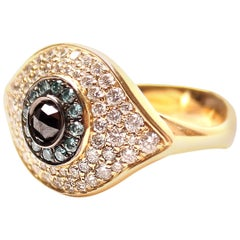 Clarissa Bronfman 14 Karat Yellow Gold Evil Eye Ring with Diamonds