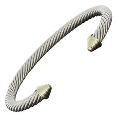 David Yurman Yellow Gold and Sterling Silver Cable Classic Cuff