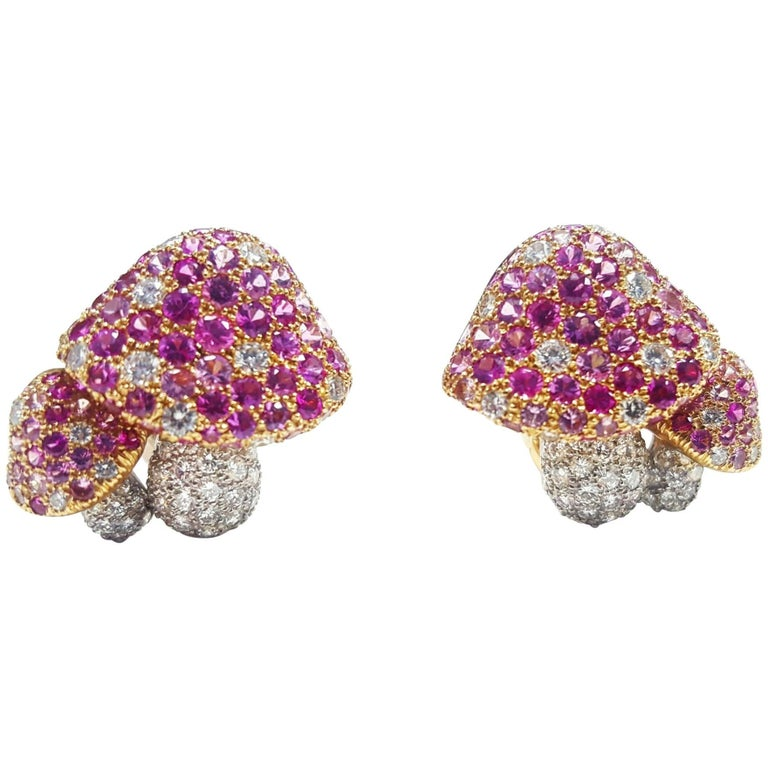 Tiffany & Co. Mushroom Diamond pink sapphire Earrings For Sale
