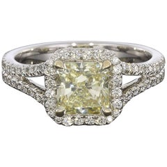 2.02 Carat Fancy Yellow Radiant Diamond Split Shank Halo Engagement Ring