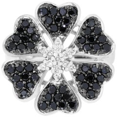 1.07 Carat Round Black Diamond and 0.18 Carat Diamond Flower Ring