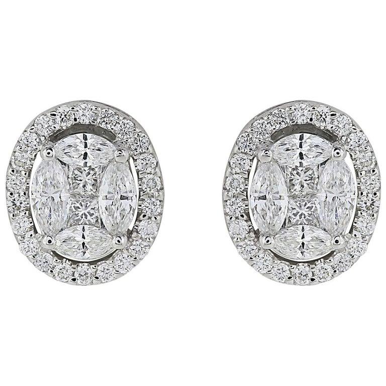1 04 Carat Oval Shaped Diamond Earrings For