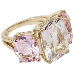 Rock Crystal and Pink Topaz Yellow Gold Three-Stone Cushion Ring
