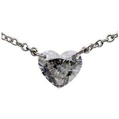 .61 Carat Heart Diamond 14 Karat White Gold Pendant