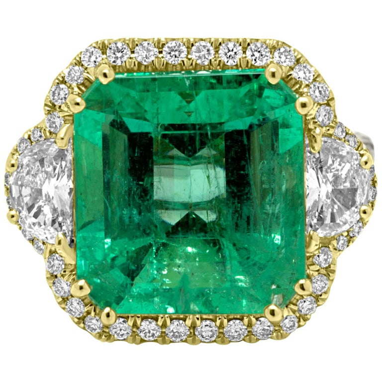 GIA Certified Colombian Emerald 10.20 Carat Diamond Halo Two-Color Gold Ring