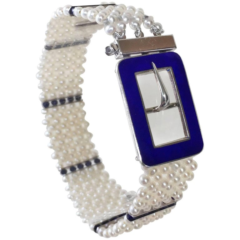 Blue Enamel Buckle with Woven Pearl Bracelet and Lapis Lazuli by Marina J.