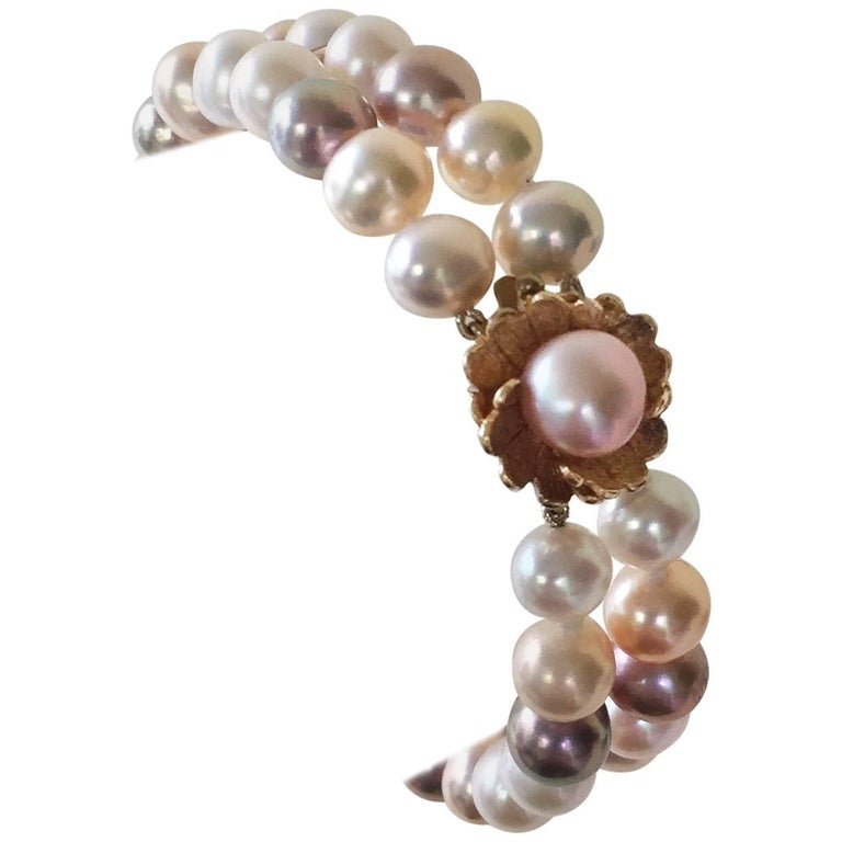 Multicolored Pearl Double Stranded Bracelet with Vintage Clasp by Marina J.