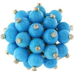 Turquoise and Diamond Pom Pom Ring