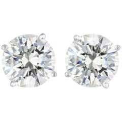 GIA Certified 10.04 Carat H/SI2 Diamond Stud Earrings