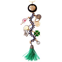 Clarissa Bronfman Ebony, Diamond, Lapis, Gold, Ruby, Bone Symbol Tree Necklace