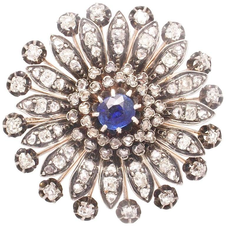 19th Century French Sapphire Diamond Brooch