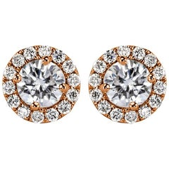 Mark Broumand 0.70 Carat Round Brilliant Cut Diamond Halo Earrings