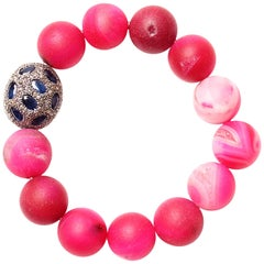 Clarissa Bronfman Pink Agate, Diamond and Sapphire Beaded Bracelet