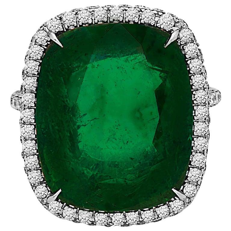 Emilio Jewelry Stunning Large Emerald Ring 17.00 Carat Ring