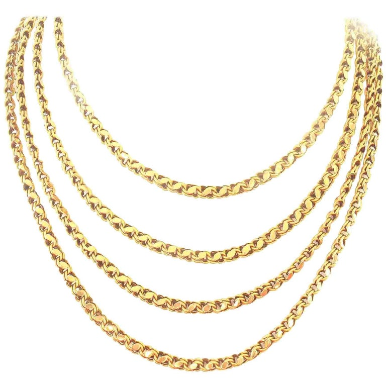 Long French Gold Necklace