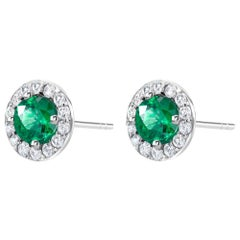 Emerald Halo Diamond Gold Stud Earrings