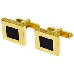 Bvlgari Black Onyx Cufflinks 18 Karat Yellow Gold