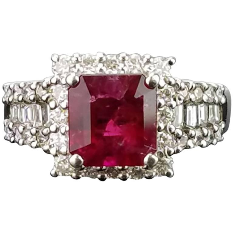 Certified Rare 1.61 Carat Red Emerald and Diamond Band Ring