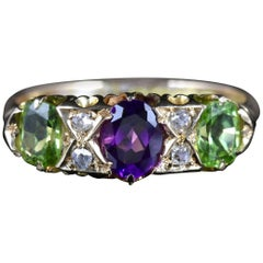 Antique Victorian Suffragette Ring 18 Carat Diamond Amethyst Peridot, circa 1900
