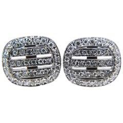 Smart 0.65 Carat White Diamond 18k White Gold T-Bar Back Cufflinks