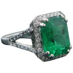 6.14 Carat Colombian Natural Emerald Diamond Ring Platinum, GRS Certificate