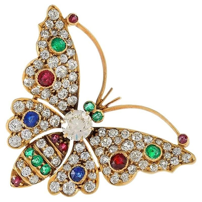 Antique Diamond Emerald Ruby Sapphire and Gold Butterfly Brooch