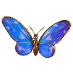 Antique Mappin & Webb London Diamond Feather Enamel and Gold Butterfly Brooch