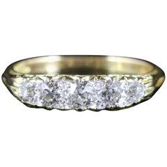 Antique Victorian Pave Set Diamond Ring Five-Stone 18 Carat, circa 1880