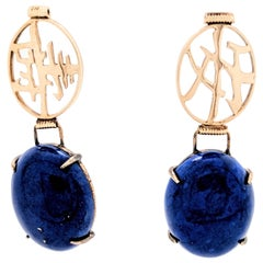 14K Yellow Gold Blue Lapis Peace & Long Life Chinese Symbol Dangle Drop Earrings