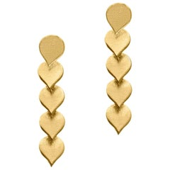 Timeless Gold-Plated Brass Teardrop Shaped Motif Greek Drop Earrings