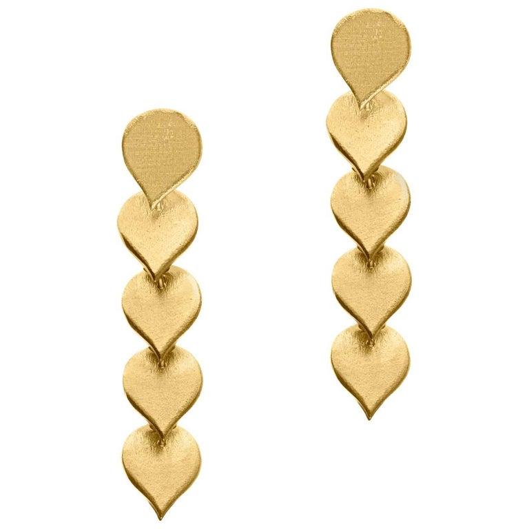 Timeless Gold-Plated Brass Teardrop Shaped Motif Greek Drop Earrings