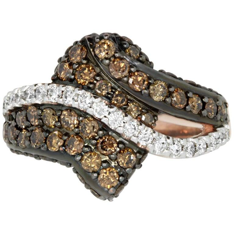 1.22 Carat Natural Cognac Color Diamond and 0.29 Carat Diamond Ring