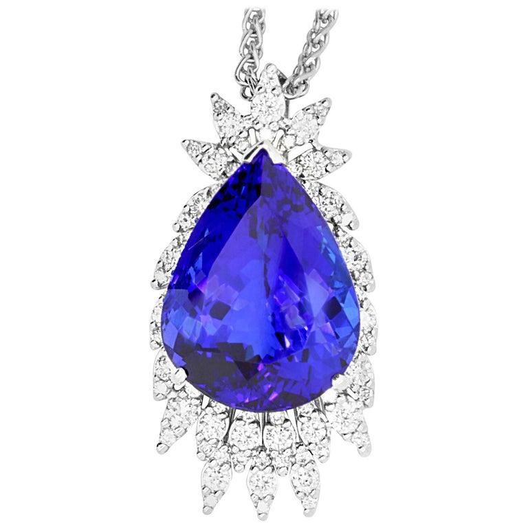 14.02 Carat Pear Shaped Tanzanite and White Diamond Pendant