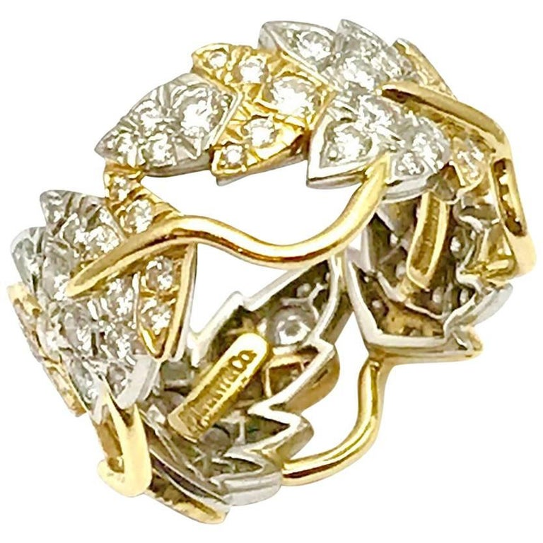 Tiffany & Co. Schlumberger Diamond Platinum and Gold Leaf Band