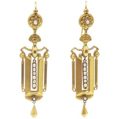 15 Carat Gold Earrings with Pearls, from England